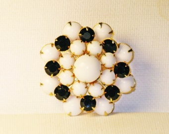 Vintage Black and White Milk Glass and Rhinestone Brooch Pin (B-4-2)