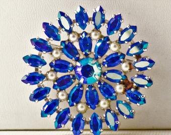 Vintage B. David Blue Green Aurora Borealis Rhinestone and Faux Pearl Sunburst Brooch Pin (B-1-2)