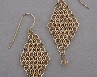 Chain maille earrings gold fill  European 4-in-1 mesh diamond