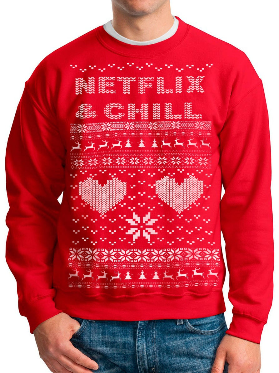 NETFLIX and CHILL DRAKE Ugly Christmas sweater Netflix Bling t
