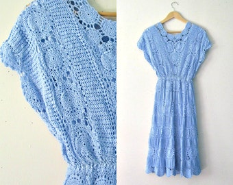Vintage crochet lace blue dress / Country Bohemian Romantic doily lace dress / Hand-dyed crochet lace dress