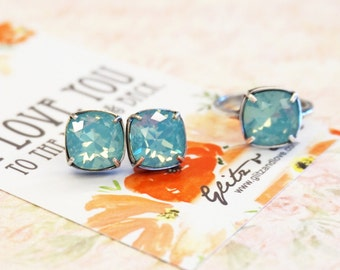 Emma - Pacific Opal Wedding Bridesmaid Gift Bridal Earrings and Ring, Bridesmaid Jewelry, Seafoam dark mint Swarovski Studs Square Cushion
