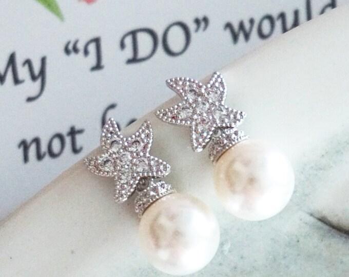 Star - Crystal Star Ear Post with Pearl drop, Bridal, Crystal Wedding Cubic Zirconia Earrings, Bridesmaids, Bridal Party, Beach Wedding
