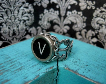 Typewriter Key Jewelry Typewriter Key Ring Initial V
