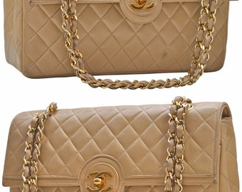 """CHANEL Paris 9.85"""" Inch Quilted Lambskin Leather Single Flap With 2 Way Chain Shoulder Bag"""