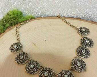 Vintage Gold & Rhinestone Statement Necklace