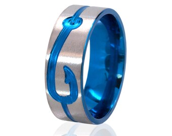 New Blue Titanium Fishing Ring, Blue Titanium Fish Hook Rings, Carved Outdoors Rings, Unique Fishing Jewelry: 8F1G-ST-Top-M-Hook-Blue