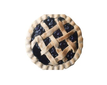 Primitive Blueberry Pie Lattice Crust Scented Farmhouse Fake Food - Blueberry Pie in a Rusty Pie Pan