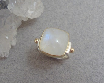 Rainbow Moonstone Cabochon Ring in Sterling and 18k Gold, Glowing Moonstone Ring
