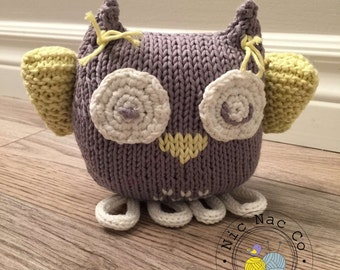 Mohini, the sweet OWL plushie, gray and white, yellow cotton, baby