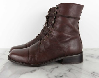 90s Genuine Leather Lace up Brown Boots Low Chunky Heel Booties sz 7.5 C