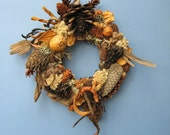BIG SALE Dried Seed Pod and Pinecone and Driftwood Wreath or Candle Ring-PW74