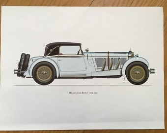 MERCEDES BENZ 1928 - classic car print - original vintage lithograph printed in the 1960's - collectable automobile - antique restored autos