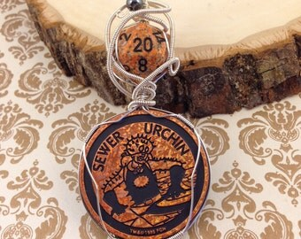 """Wire Wrapped """"The Tick"""" Pogs Slammer Orange Holographic Sewer Urchin and Orange d20 Pendant Necklace"""