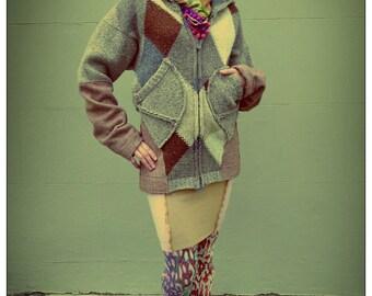 Beige Gray Upcycled Hoody Tweed & Wool Jacket Cardigan                          Made in England UK