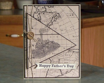 """Handmade Stampin Up Father's Day Card - 5.5"""" x 4.25"""" - Maps from Going Places & Hand Stamped Locomotive or Train"""