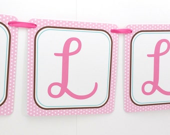 Name Banner - Made to Match Girl Puppy Party Birthday Banner