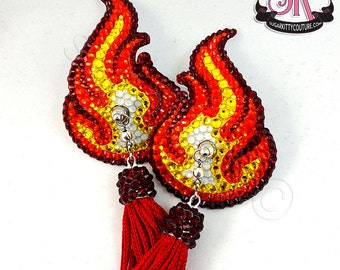 Flames Fire QuickChange Tassels Nipple Pasties - SugarKitty Couture