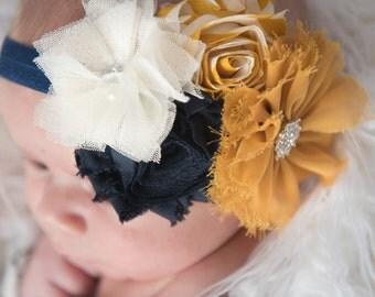 mustard elastic headband, gold flower headband, navy elastic headband, girl baby shower gift, photo prop, navy flower headband baby headband