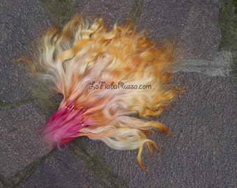Doll Hair Combed Mohair 10 in flames - hot pink, orange and yellow color locks mohair goat/ reroot/  Reborn/ momoco / doll wig/ lafiabarussa