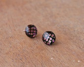 Fused Glass Stud Earrings - Black with Pink and Gold Dichroic Small Grid