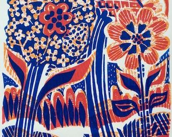 Flourish Original Linocut Print
