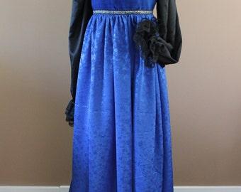 "Bust 37"" Sapphire Blue Italian Borgia Lucrezia Dress Renaissance Medieval Game of Thrones Tudor Gown"