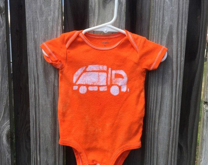 Baby Garbage Truck Bodysuit, Orange Truck Baby Bodysuit, Truck Baby Gift, Baby Boy Gift, Baby Shower Gift (6 months)