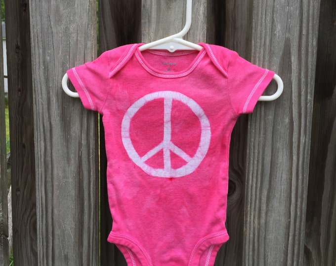 Peace Sign Baby Bodysuit,  Pink Peace Baby Bodysuit, Baby Girl Peace Sign, Peace Sign Baby Gift, Baby Shower Gift, Batik Baby (3 months)