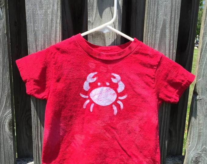 Kids Crab Shirt, Red Crab Shirt, Boys Crab Shirt, Girls Crab Shirt, Maryland Crab Shirt, Ocean Creature Shirt, Batik Crab Shirt (3T)