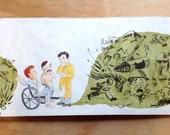 ORIGINAL ARTWORK - book illustration -- Sidney Nolan Australian artist in hospital during the war