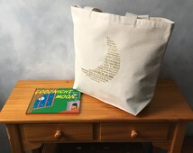 """CLEARANCE - Dream Moon Original Design Typography Tote - Carryall Tote - Gold Ink on Natural Bag -More info in """"Item Details"""""""