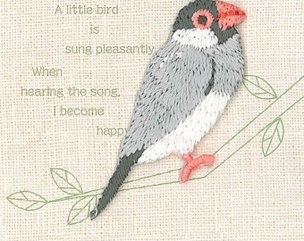 Java sparrow, Bird Patch, Cute Embroidered Iron On Patch, Japanese Colorful Iron on Applique, Made in Japan, Kawaii Embroidery Applique,W100