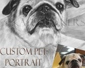 personalized pet portrait Custom Drawing Pug Dog Portrait Listing RESERVED