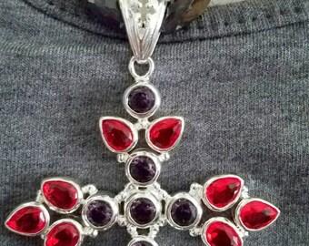 Big Cross Amethyst Garnet 925 Sterling Silver with Amethyst Necklace