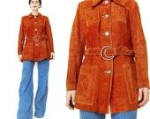 1970s Suede Leather Jacket Rust Orange Leather Jacket Boho Rocker Belted Leather Jacket Crescent Moon Buckle Womens Soft Suede Jacket (S/M)