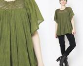 60s 70s Olive Green Gauze Cotton Blouse Boho Semi Sheer Crochet Knit Peasant Top Angel Sleeve Blouse Neckline Hippie Boho Shirt (M/L)