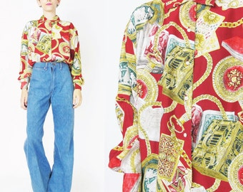 80s 90s Chain Print Blouse Womens Baroque Shirt Fresh Prince Hip Hop Womens Button Down Collared Long Sleeve Shirt Red and Gold Top (S/M)