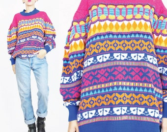 1980s Striped Sweater Bright Coogi Style Knit Sweater Womens Winter Ski Abstract Sweater Knitwear Pink Blue Multi Color Pullover Jumper (M)