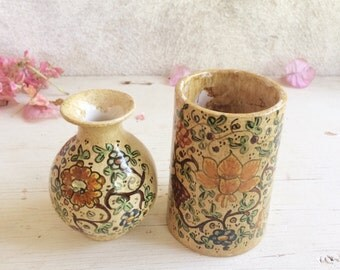Pair of small vintage Gubbio Italy art pottery vases signed Benedetti, Italian Majolica pottery, ceramics and pottery rustic home decor
