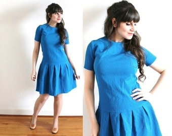 60s Dress / 1960s Azure Blue Mini Scooter Dress