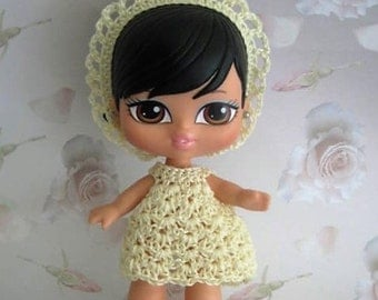 Crochet Pattern - Baby Bratz 5 in Sunny Day Lemons - Dress, Headband/Crown and Shoes