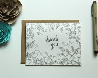 Set of 8 Hand Illustrated Thank You Cards - Dogwood Blossoms