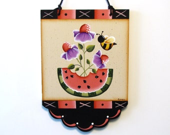 Flowers, Watermelon, Bee Scalloped Banner, Handpainted Wood Sign, Hand Painted Home Decor, Wall Art, Pink, Purple, Tole Painting, B7