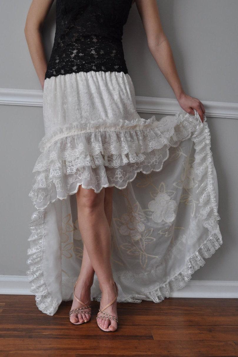 ivory hi low ruffle bustle skirt steunk bohemian