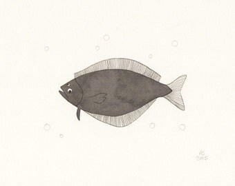 Fish art - Halibut - original illustration on paper - limited edition