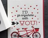 Letterpress Valentine Bike Card