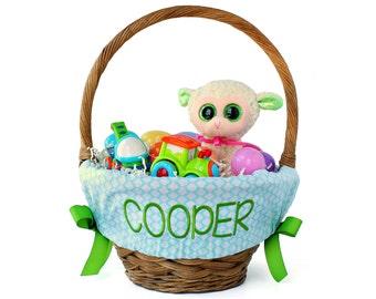 Personalized Easter Basket Liner, Aqua Quatrefoil, Basket not included, Monogrammed Easter basket liner, Custom basket liner with name added