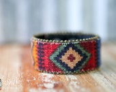 CUSTOM HANDSTAMPED CUFF - bracelet - personalized by Farmgirl Paints -Aztec stitched cuff with bead edging