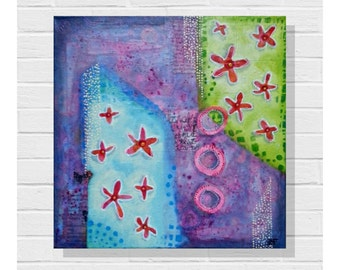 Mixed Media Original / Mixed Media Painting / Contemporary Art / 12 x 12 inches / Canvas Art/ Original Art / Collage Painting